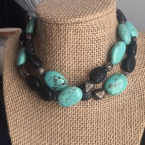 Turquoise and black soap stone necklace